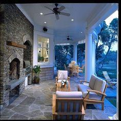 TN Thin Stack Stone Fireplace w TN irregular flagstone patio