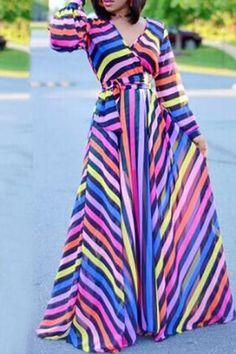 bd8c7838d36 V-neck Puff Sleeve Rainbow Stripe High Waist Dress