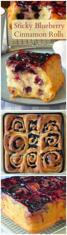 Sticky Blueberry Cinnamon Rolls – a delicious new version of sticky buns that will have you licking your fingers in delight as you enjoy these warm and fresh from the oven.