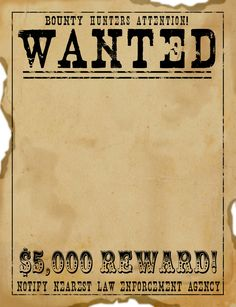 Wild West Wanted Poster from freescrapbook.graphics.