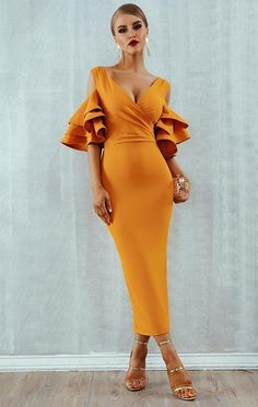 2019 New Summer Women Club Dress Vestidos Celebrity Party Dress Yellow Red Ruffle Butterfly Short Sleeve Midi Club Dresses - Midi Dress : Dress Ruffle Dress, Dress Up, Bodycon Dress, Prom Dress, Ruffle Sleeve, Sheath Dress, Club Dresses, Party Dresses, Dress Party
