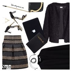 """Black and gold"" by the92liner ❤ liked on Polyvore featuring Salvatore Ferragamo, Lee Renee and Uniqlo"