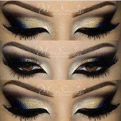 makeupbymels makeup smokey eyes gold blue black elegant sexy nightout