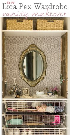 Super inexpensive customized Ikea Pax Wardrobe turned vanity!
