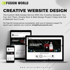 The Custom Web Design Service With Our Creative Designer. You Can Join Them, Simply Start A Web Design Project Today And Get A Website You'll Love. For FREE 30 minute phone consultation with one of industry's expert to launch your website via e-mail at info@efusionworld.com. Custom Web Design, Web Design Projects, Responsive Web Design, Web Design Services, Creative Design, Product Launch, Website Designs, Join, Phone