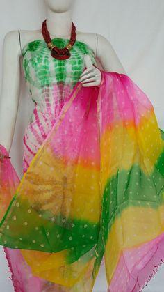 Multi Colored Wonderful Pure Kutta Silk Kurit With Dupatta Fashion Dresses, Women's Fashion, Kamiz, Tie Dye Dress, Dress Styles, Punjabi Suits, Palazzo Pants, Baby Sewing, Fabric Painting