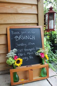 this chalkboard holds vases which adds a nice touch ~khimaira farm wedding venue Shenandoah Valley Blue Ridge Mountains Luray VA