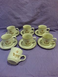 Vintage Hearthside Cumberland Mayblossom Teacups and Saucers Set of 6 Plus Extra Tea Cup Retro 1970s Japan Stoneware Ceramic Flower Brown