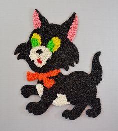Halloween Black Cat Kitten Vintage Melted Plastic Popcorn Decoration Orange Black Green 1970's by RelicsAndRhinestones on Etsy