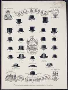 Charles Hill & Sons Ltd :Hill & Sons, sole agents for Henry Heath London; John Stetson & Co Philad[elphi]a; James E Mills London. [Catalogue page Models 27 to Top Hat Drawing, Drawing Art, Hat Tutorial, Beard Styles For Men, Hat For Man, Bowler Hat, Just For Men, Illustrations, Victorian Fashion