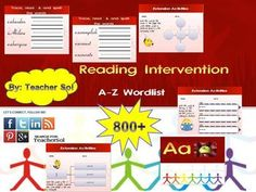#edchat #mschat #spedchat Can't miss this!! SPED Reading Intervention 800+ Word List A-Z with Menu