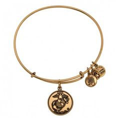 U.S. Marine Corps Charm Bangle - Russian Gold OR Russian Silver - by Alex and Ani - $32.00
