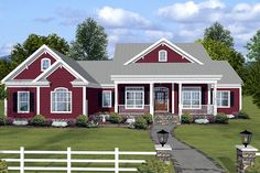Country Style House Plan - 3 Beds 3.5 Baths 2294 Sq/Ft Plan #56-608 Exterior - Front Elevation - Houseplans.com