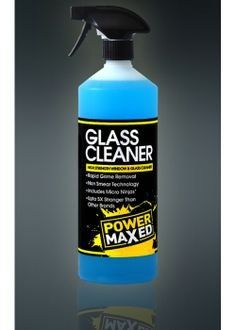 Power Maxed Glass Cleaner  Loosens and breaks down filth stuck to glass and mirrors. Keep your visibility perfect by keeping it clean of bugs, grime, tree sap, and mud. Non smear formula keeps cleaning an easy process.  Rapid Grime Removal Low Viscous Liquid Excellent Bug Remover Removes tree sap, oil and grease Non Smear Technology Up to 5X Stronger Than Other Brands Use on Glass and Mirrors Suitable on all Vehicles and Around the House