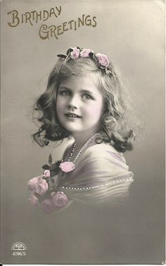Rosebud girl, pink flowers in hair, romantic roses, hand tinted, vintage child photo, Edwardian ephemera, pretty child portrait