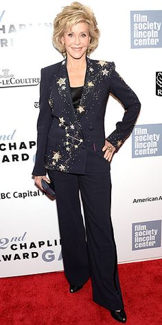 Last Night's Look: Love It or Leave It? Vote Now! | JANE FONDA | in a star-spangled navy Schiaparelli Haute Couture suit (and stellar coordinating H. Stern earrings!) at the Chaplin Award Gala in N.Y.C.