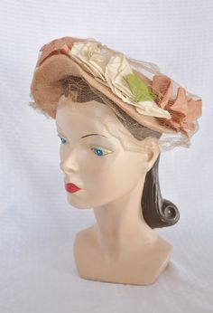 1940s Vintage Open Crowned Hat with Flowers by MyVintageHatShop