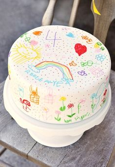A cake you can doodle on with food decorating pens!!