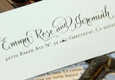 Custom Calligraphy Address Stamp -- Hand Calligraphy and Type Single line via Angelique Ink