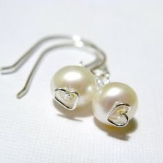 Constance Earrings - Freshwater pearl and sterling silver, small earrings. via Etsy ~ LotusStone