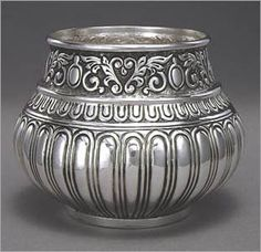 """Bowl. 3"""" x 4 3/4""""  Sterling silver, fabricated, chased."""