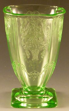 [to read and subscribe to!] Lorain Green Depression Glass Footed Tumbler from Indiana