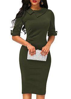 4cb0c313c7 Women s Retro Bodycon Below Knee Formal Office Dress Pencil Dress with Back  Zipper