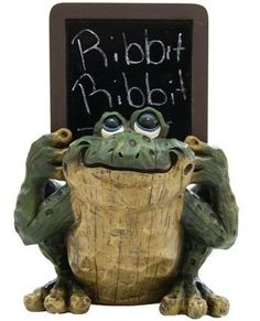 Frog Holding a Chalkboard (Carved Wood Look) 8-inch by Frog Blackboard, http://www.amazon.com/gp/product/B001C00GGA/ref=cm_sw_r_pi_alp_3nh5pb0Q5RT04