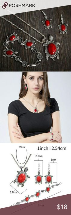 Tibetan Red Tortoise Necklace Set Alloy Necklace, Earrings, Bracelet Set (4 Peice Set) Colors may vary Jewelry Necklaces