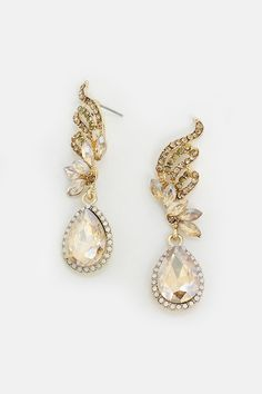 Crystal Tiffany Earrings in Champagne | Women's Clothes, Casual Dresses, Fashion Earrings & Accessories | Emma Stine Limited