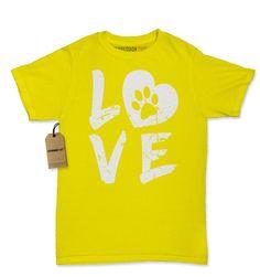 I Love My Dog Paw Print Womens T-shirt