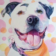 My watercolor portrait of the adorable Cleo from Chako Pit Bull Rescue.
