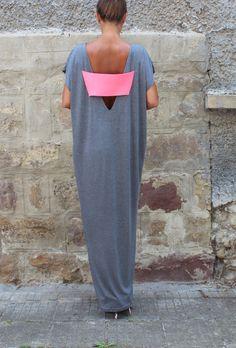 Backless Caftan Grey Oversized Dress by cherryblossomsdress