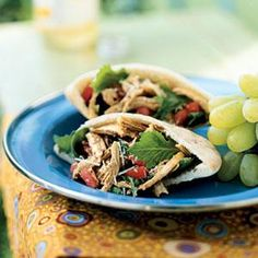 100 Easy Chicken Recipes - Little Italy Chicken Pitas with Sun-Dried Tomato Vinaigrette Recipes - Cooking Light Healthy Recipes, Lunch Recipes, Cooking Recipes, Cooking Games, Wrap Recipes, Sandwich Recipes, Yummy Recipes, Recipies, Yummy Food
