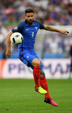 Olivier Giroud of France in action during the UEFA Euro 2016 Group A match between France and Romania at Stade de France on June 10, 2016 in Paris, France.
