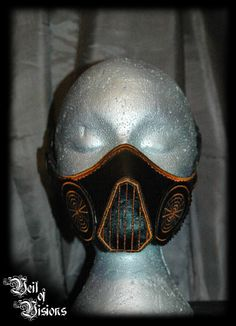 Steampunked style nose/mouth mask in black leatherette with respirator decoration. £35