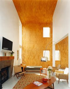 Emily Henderson How To Add Character To Basic Architecture Walls Celings Wood Unfinished Raw 32 Wood Interiors, Wood Panel Walls, Cozy House, Plywood House, Plywood Wall Paneling, Family Living Rooms, Plywood Walls, Timber Panelling, Wall Paneling