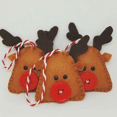 Rennes de Noël ornements de décorations à suspendre en feutrine
