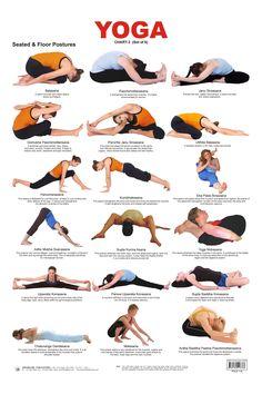 Yoga Chart 3 (Seated & Floor Postures) ~ educational charts kinderkraftz.com                                                                                                                                                     Más
