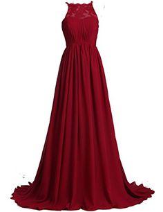 Xfcastle A Line Chiffon Lace Burgundy Bridesmaid Dresses Halter Neck Long Prom Dresses (26W)