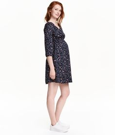 Check this out! Short dress in soft fabric with a printed pattern. V-neck, gathers at shoulders, 3/4-length sleeves with button at cuffs, and elasticized seam at waist. Unlined. - Visit hm.com to see more.