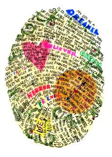 """This pin contains a writing prompt for a creative writing class called """"Fingerprint Poetry"""". This is a great opening activity for a Poetry Unit in creative writing. It allows students to create a fingerprint about themselves! Poetry Unit, Ecole Art, Arts Ed, Art Classroom, Art Plastique, Teaching Art, Teaching Poetry, Creative Writing, Writing Art"""