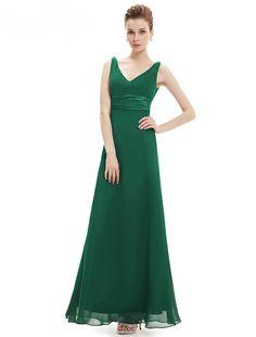 Sexy Double V-neck Diamantes Chiffon Evening Dress