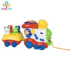 Kids Toys Cartoon Toy Trains for Toddlers with Lights and Music Learning Educational Toys