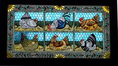 Hens / stained glass / Yibei