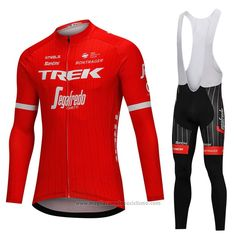 2018 Abbigliamento Ciclismo Trek Segafredo Rosso Manica Lunga e Salopette  Cycling 7c534fc39