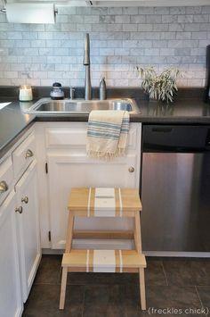 For the petite cook: Bekvam step stool from Ikea. Ikea Step Stool, Kitchen Step Stool, Kitchen Chairs, Ikea Kitchen, Kitchen Dining, Step Stools, Kitchen Ideas, Ikea Hacks, Ikea Bekvam