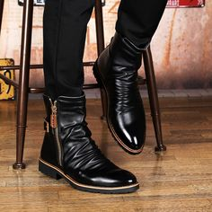 new arrive men fashion black motorcycle punk genuine leather shoes point toe high martin boots spring autumn sapatos hombre male