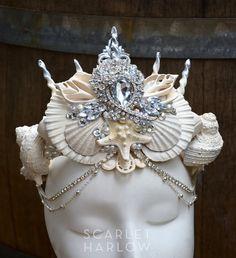 Mermaid crown white- siren - photoshoot - pageant - runway - mermaid costume - fantasy - cosplay - fashion.