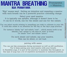Pranayama and mantra - this has tips on using the Bija mantra while doing breathing exercises in yoga. Pranayama, Kundalini Yoga, Ashtanga Yoga, Yoga Breathing Techniques, Deep Breathing Exercises, Meditation Techniques, Mindfulness Practice, Mindfulness Meditation, Guided Meditation